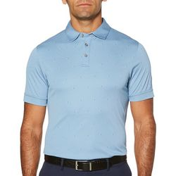 PGA TOUR Mens Air Mini Print Textured Polo Shirt