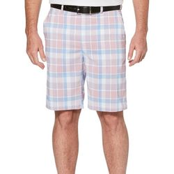 PGA TOUR Mens Roadmap Madras Flat Front Golf Shorts