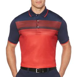 PGA TOUR Mens Stripe Print Front Panel Golf Polo Shirt