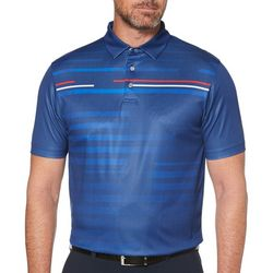 PGA TOUR Mens Shadow Stripe Print Short Sleeve Polo Shirt