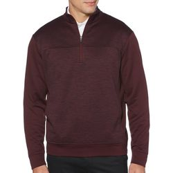 PGA TOUR Mens Solid Quarter Zip Fleece Pullover Sweater