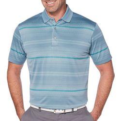 PGA TOUR Mens Pro Series Jacquard Striped Golf Polo Shirt