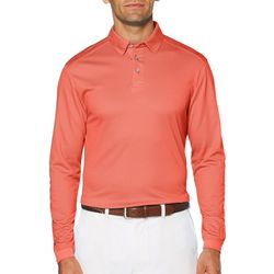 PGA TOUR Mens Birdseye Long Sleeve Polo Shirt