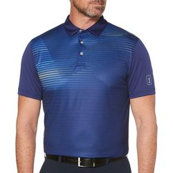 PGA TOUR Mens Linear Print Short Sleeve Polo Shirt