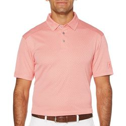 PGA TOUR Mens Micro Argyle Short Sleeve Golf Polo Shirt