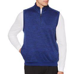 PGA TOUR Mens Big & Tall Heathered Quarter Zip Fleece Vest