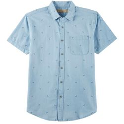 Boca Classics Islandwear Mens Chambray Palm Tree Shirt
