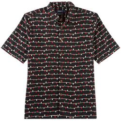 Boca Classics Mens Christmas Lights Short Sleeve Shirt