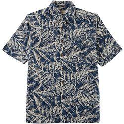 Boca Classics Mens Damask Palm Print Short Sleeve Shirt
