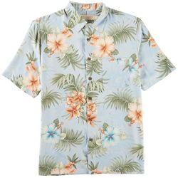 Boca Classics Mens Hibiscus Print Button Down Shirt
