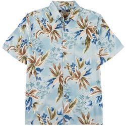 Boca Classics Mens Tropical Scene Pocket Short Sleeve Shirt