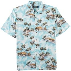 Boca Classics Mens Tropical Scene Short Sleeve Shirt