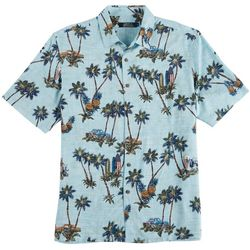 Boca Classics Mens Flag Palm Tree Print Short Sleeve Shirt