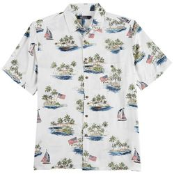 Boca Classics Mens Flag Boat Print Short Sleeve Shirt