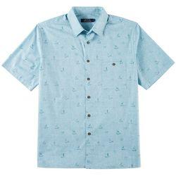 Boca Classics Mens Boat Print Short Sleeve Shirt