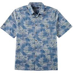 Boca Classics Mens Palm Batik Print Button Down Shirt