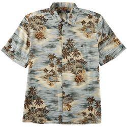 Boca Classics Mens Tropical Sunset Print Button Down Shirt