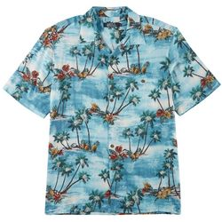 Boca Classics Mens Palm Flower Print Button Down Shirt