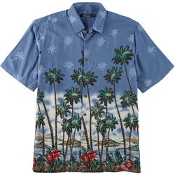 Boca Classics Mens Palm Tree & Hibiscus Button Down Shirt