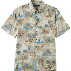 Boca Classics Mens Palm Tree & Flamingo Button