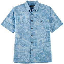 Boca Classics Mens Tropical Leaf Print Short Sleeve Shirt