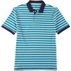 Boca Classics Mens Stripe Print Short Sleeve Polo Shirt