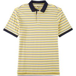 Boca Classics Mens Stripe Print Short Sleeve Polo Shirt