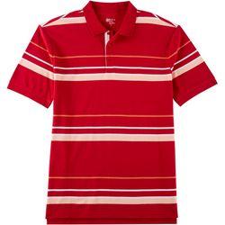 Boca Classics Mens Striped Print Polo Shirt
