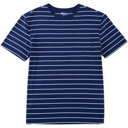 Boca Classics Mens Stripe Print Pocket Crew Neck