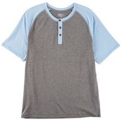 Boca Classics Mens Heathered Short Sleeve Henley Shirt