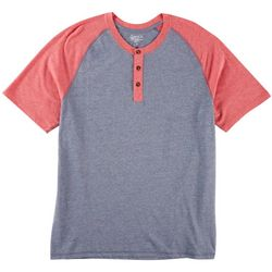 Boca Classics Mens Short Sleeve Colorblock Henley Shirt