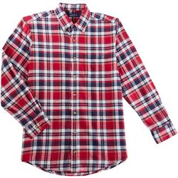 Boca Classics Mens Plaid Print Flannel Button Down Shirt