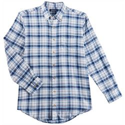 Boca Classics Mens Madras Plaid Button Down Flannel Shirt