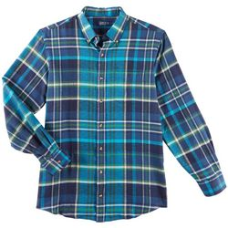 Boca Classics Mens Madras Plaid Flannel Long Sleeve Shirt