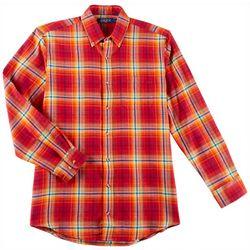 Boca Classics Mens Windowpane Plaid Pocket Flannel Shirt