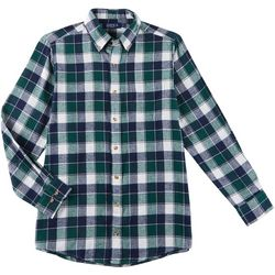 Boca Classics Mens Plaid Button Up Pocket Long Sleeve Shirt