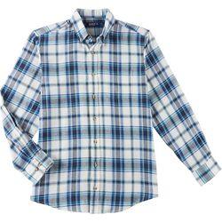 Boca Classics Mens Plaid Print Pocket Long Sleeve Shirt