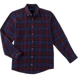 Boca Classics Mens Plaid Print Button Down Long Sleeve Shirt