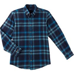 Boca Classics Mens Flannel Plaid Royal Long Sleeve Shirt