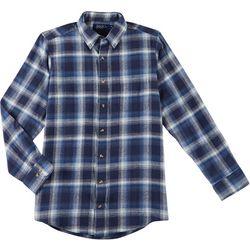 Boca Classics Mens Plaid Pocket Button Up Long Sleeve Shirt