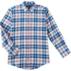 Boca Classics Mens Flannel Madras Plaid Long Sleeve Shirt