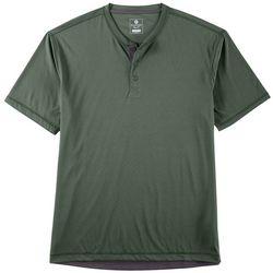 Flatwood Threads Mens Micro Stripe Short Sleeve Henley Shirt