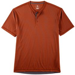 Flatwood Threads Mens Micro Stripe Short Sleeve Henley Shirt