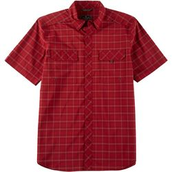 Flatwood Threads Mens Woven Plaid Short Sleeve Shirt