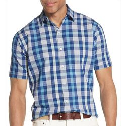 Van Heusen Mens Seersucker Plaid Print Shirt