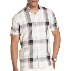 Van Heusen Mens Plaid Print Short Sleeve Shirt