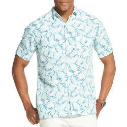 Van Heusen Mens Tropical Leaf Print Short Sleeve Shirt