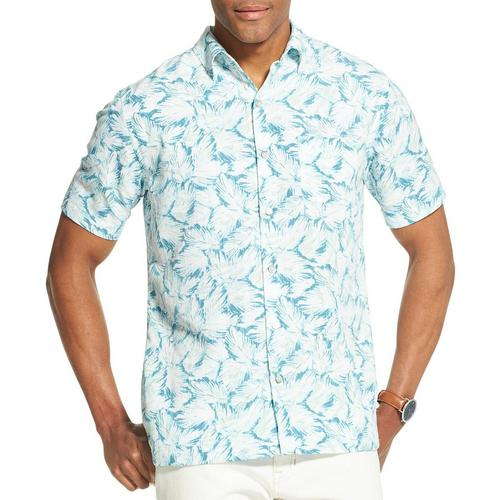 6316a863984 Van Heusen Mens Tropical Leaf Print Short Sleeve Shirt
