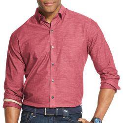 Van Heusen Mens Air Textured Solid Short Sleeve Shirt