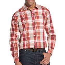 Van Heusen Mens Air Textured Plaid Short Sleeve Shirt